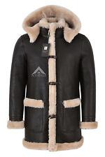 Men's Leather Sheepskin Duffle Coat Brown Beige Fur Hooded 100% Shearling Ivar