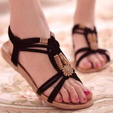 Bohemia Womens Beach Slippers Flip Flops Flat Sandals Summer Thong Shoes T-strap