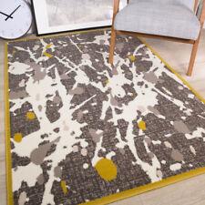 Modern Grey Ochre Yellow Abstract Bedroom Rug Boy Girls Paint Stroke Area Mat UK