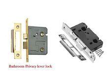 3 LEVER MORTICE BATH SASH DOOR LOCK 2.5 INCH brass & Chrome plate THUMB TURN