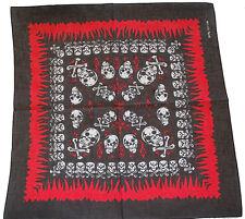 Bandana Bandanna Flame Skull Cross Bone Black 6 Styles