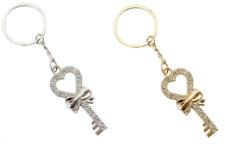 Fashion Heart & Bow Shape Rhinestone Keychain Key Ring Bag Charm Silver~Gold LOT