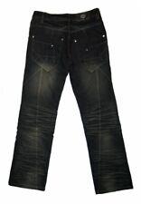 Herren Jeans Schwarz Reißverschluss Used Look Waschungen Hose für Männer L 32