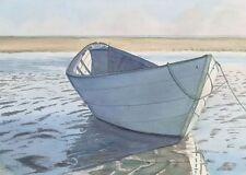 Seashore Serenity. Rowboat at Low Tide on Beach. Watercolor Art Prints