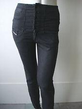 Diesel Squeaze Hose Jeans Taillenhose Hochschnitt Grau Stretch