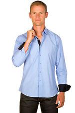 Ugholin Camisa para Hombre Casual Azul Algodón de Manga Larga