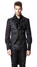 Veste noire homme motifs baroques, broderies et boutons argentés go Punk Rave