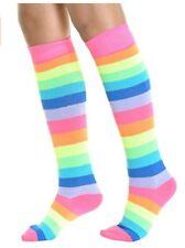 1 Pair Rainbow Knee High Long Boot Socks Rainbow Stripe Women Shoe 9-11