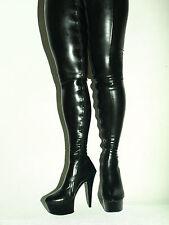 Overknee Stiefel  Latex schwarz rot 37-44 Fetisch Domina sexy  heel 15cm fs1359