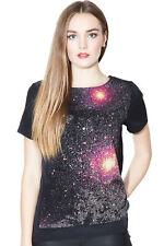 Sugarhill boutique galaxy chemisier top 8-16 noir et rose étoiles et planètes