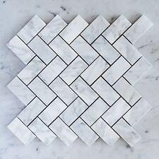 Carrara Marble Herringbone Medium Mosaic Tiles (Sheet)