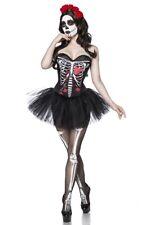 Crâne Halloween party noir mini robe corset Tutu femme rouge collants uy 80081