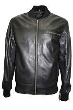 Men's Retro 80'S Leather Bomber BLACK Classic Soft Italian Nappa Leather Jacket