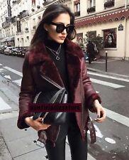 Zara Maroon Faux Fur Collar Aviator Shearling Biker Jacket XS,M
