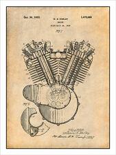 1923 Harley Davidson Motorcycle Engine Patent Print Art Drawing Poster 18 X 24
