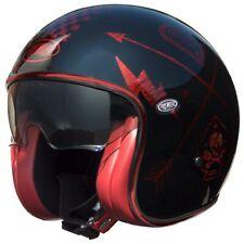PREMIER VINTAGE NX RED CHROMED TRI COMPOSITE SCOOTER CRUISER MOTORCYCLE HELMET