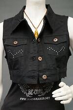 NWT Women stretch twill jeans jacket vest Sleeveless stretch black/pink SG-6114