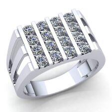 Genuine 2ctw Round Cut Diamond Mens Modern Bar Set Engagement Ring 14K Gold