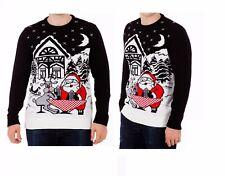 Mens Christmas Knitted Long Sleeve Sweater Novelty Funny Xmas Jumpers Santa