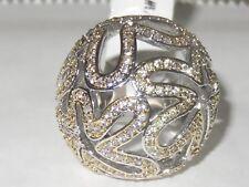 1W095 DESIGNER REVERSE 2TONE 18CT RHODIUM  DOME RING SIMULATED DIAMOND STATEMENT