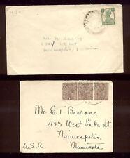 2 interesting 1920's India Covers To Minnesota  PH654
