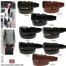 Neu Herren Beste Qualität Jeans Anzug Hose Echtleder Gürtel