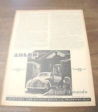 Pubblicità automobile auto ADLER TRUMPF JUNIOR adlerwerke main VINTAGE del 1940