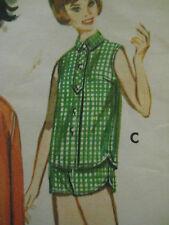 Vintage Butterick 2290 COLLARLESS LONG SHIRT & SHORTS Sewing Pattern Women Sz 12