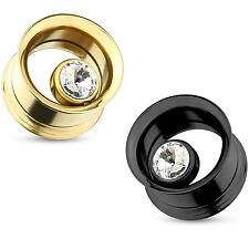 "PAIR - SINGLE CZ GEM SCREW-ON TUNNELS EAR PLUGS GAUGES (0G-5/8"") Black/Gold-Tone"