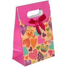 Pochette sac cadeau à fermeture scratch - cœurs 13cm x 9cm x 5cm - gift pouch