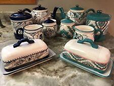 Potter's Studio Tea Cream Sugar, Canister Abstract Design Cobalt Blue, Teal. New