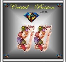 """Sublime Boucle d'oreille cristal autrichien """"Cascade """" doré à l'or fin   B35"""