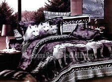 Wolves Bedding Set: Duvet Cover Set + Size-Matching White Comforter, Queen/King