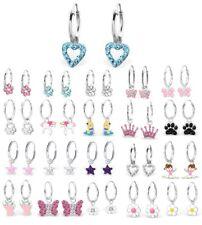 Femme Fille Argent Sterling Cristal Boucles d'oreilles créoles papillon, coeur,