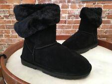 LAMO Black Suede Faux Fur Wrap Around Boots NEW