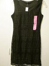 $98 Tiana B. Gorgeous Open Crochet Lace Overlay Stretch Dress Black S M L NWT