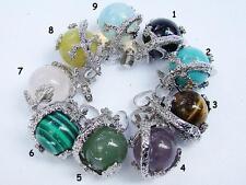 Fashion Gemstone Dragon Ball Round Pendant Necklace Agate Amethyst Quartz Opal