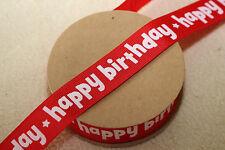 Beautiful GROSGRAIN 22mm RED & WHITE HAPPY BIRTHDAY Star Ribbon Cake & Craft