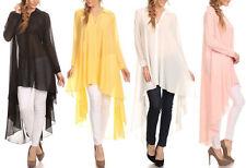 Hi Lo Long Swing Shirt Chiffon Blouse Tunic Dress Top