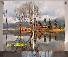 Forest Landscape Temple Reflection on Tamblingan Lake Bali Curtain 2 Panels Set