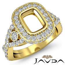 Cushion SemiMount Diamond Engagement Cross Shank Pave Ring 18k Yellow Gold 1.4Ct
