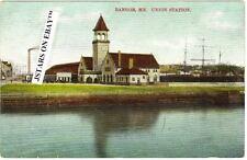 c. 1908 BANGOR, ME, UNION STATION TRAIN DEPOT POSTCARD