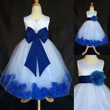 Royal Blue Big Bow Rose Petal Dress Flower Girl Pageant Wedding Recital #24