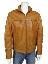New Men Tan Brown Classic Biker Leather Napa Fashions Jacket Bike Rock