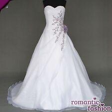 ♥NEU: Größe 34-54 Brautkleid, Hochzeitskleid in Weiß und Lila+NEU+SOFORT+W020♥