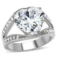 Big Bursting Heart- Wedding Engagement Ring - Women Commitment Promise Ring Band