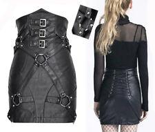 Jupe cuir gothique punk burlesque taille haute ceinture sangles corset Punkrave