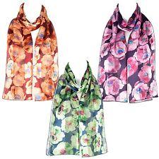 Bufanda De Mujer De Gasa Y Satén Con Diseño Floral