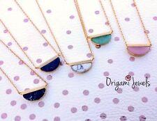 Gemstone Necklace semicircle marble aquamarine wedding jewelry bridesmaids gifts