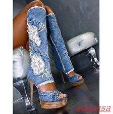Womens Summer Peep Toe Lace Up Platform High Heels Jeans Knee High Sandals Boots